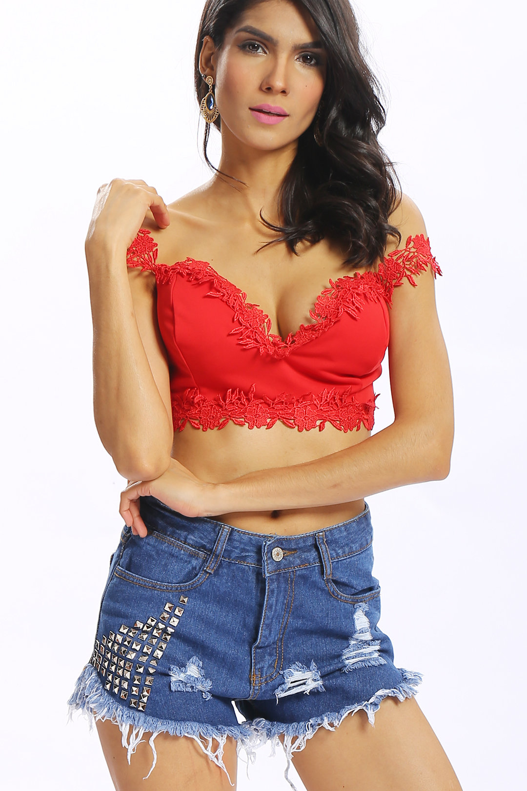 Red Lace Trim V-neck Sexy Style Bralet