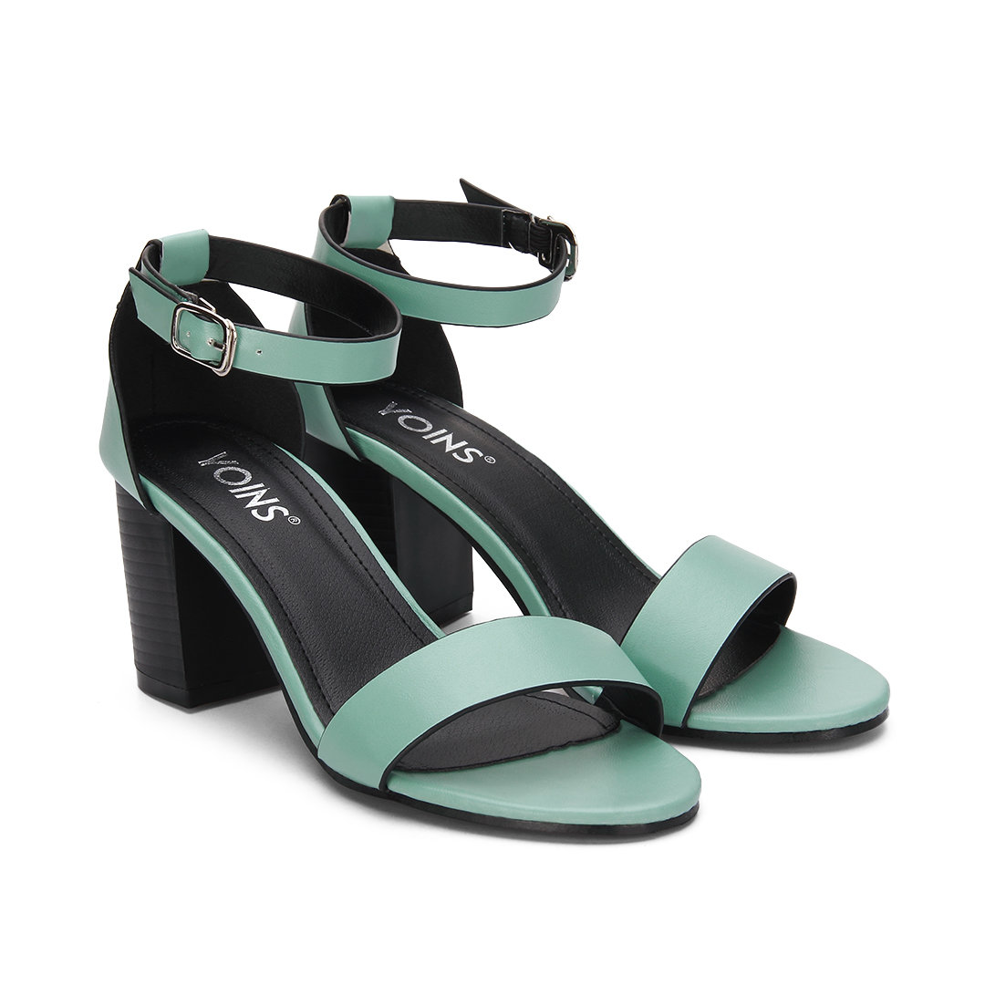 Blue Ankle Strap Peep Toe Chunky Heel Leather Look Sandals
