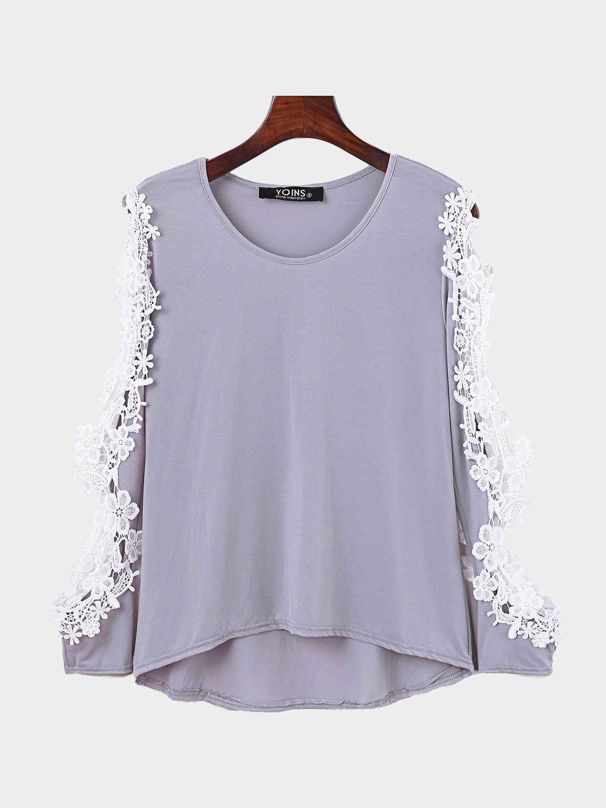 Sexy Grey Hollow Out Sleeves Lace Blouse