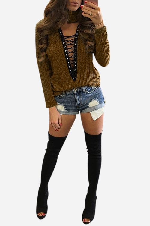 Brown Blue Sexy Knitted Roll Neck Hollow Crossed Front Jumper