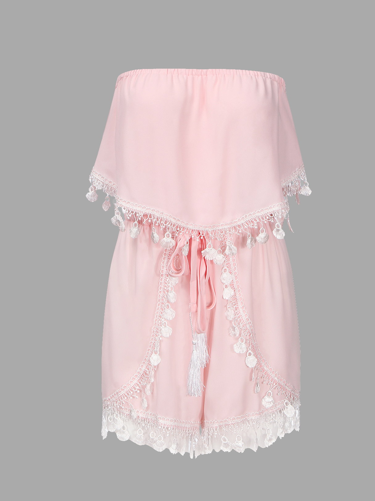 Pink Semi-sheer Off The Shoulder Lace Playsuit