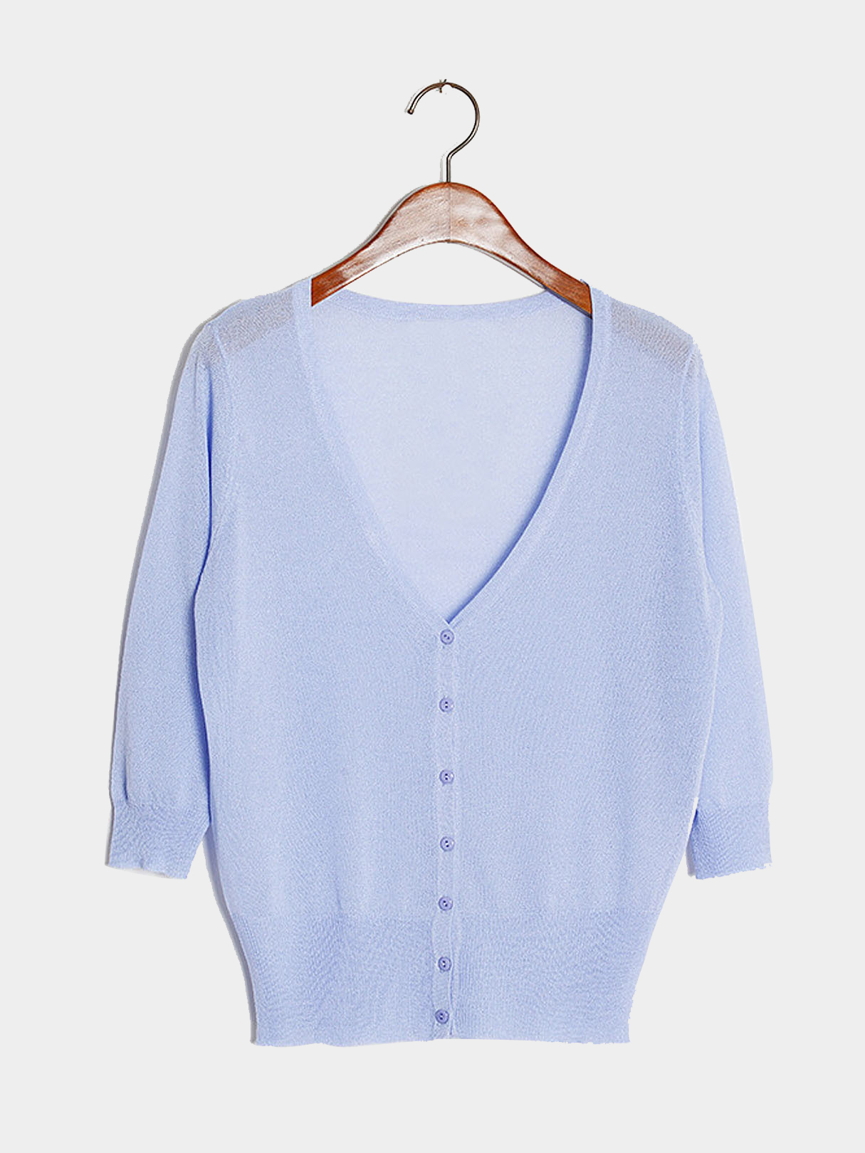 Yoins Baby Blue Lightweight Knit Mini Cardigan