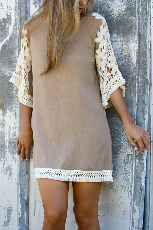 Casual Simplicity Loose-fitting Crew Neckline Lace Trim Mini Dress