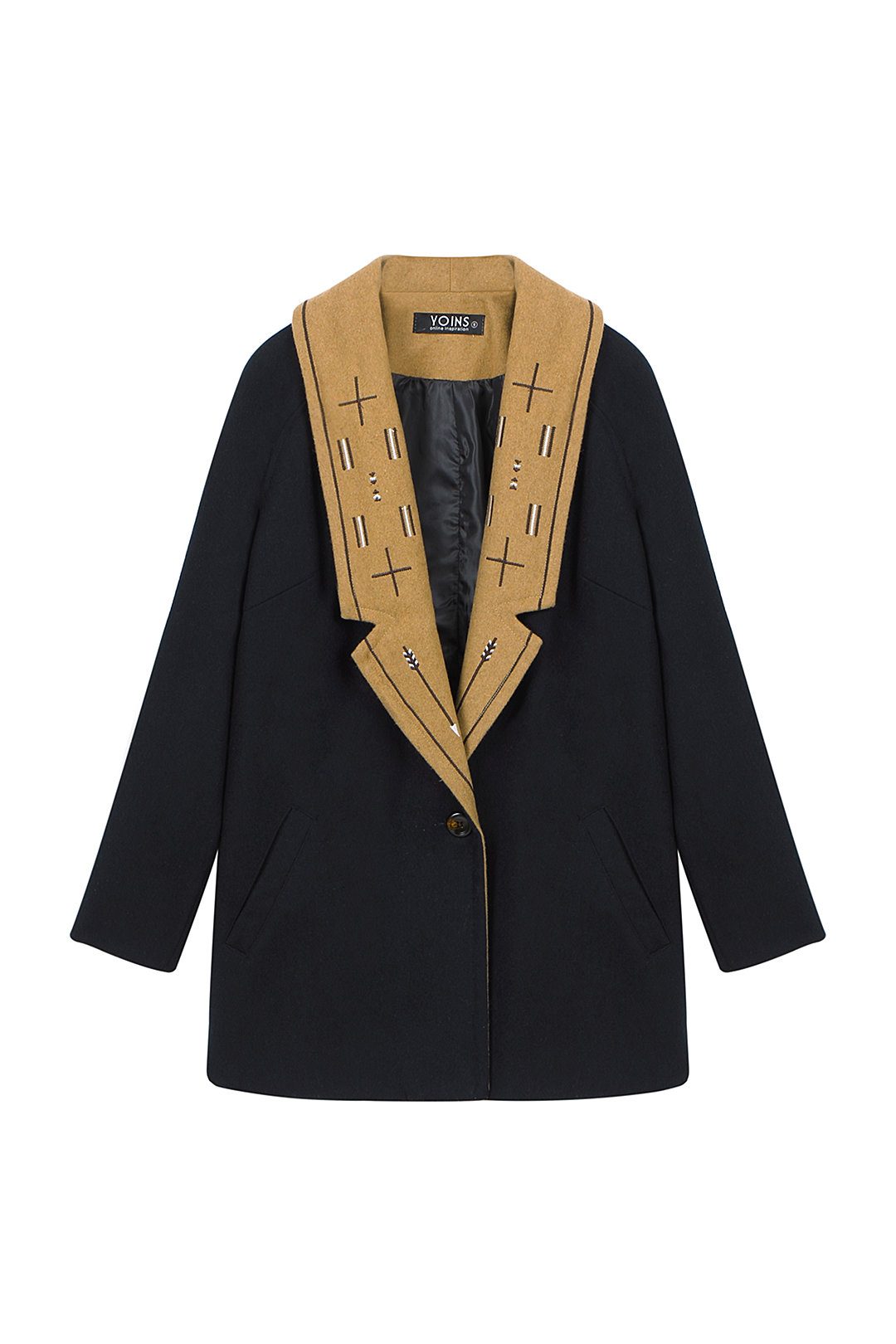 Navy Duster Coat with Embroidery