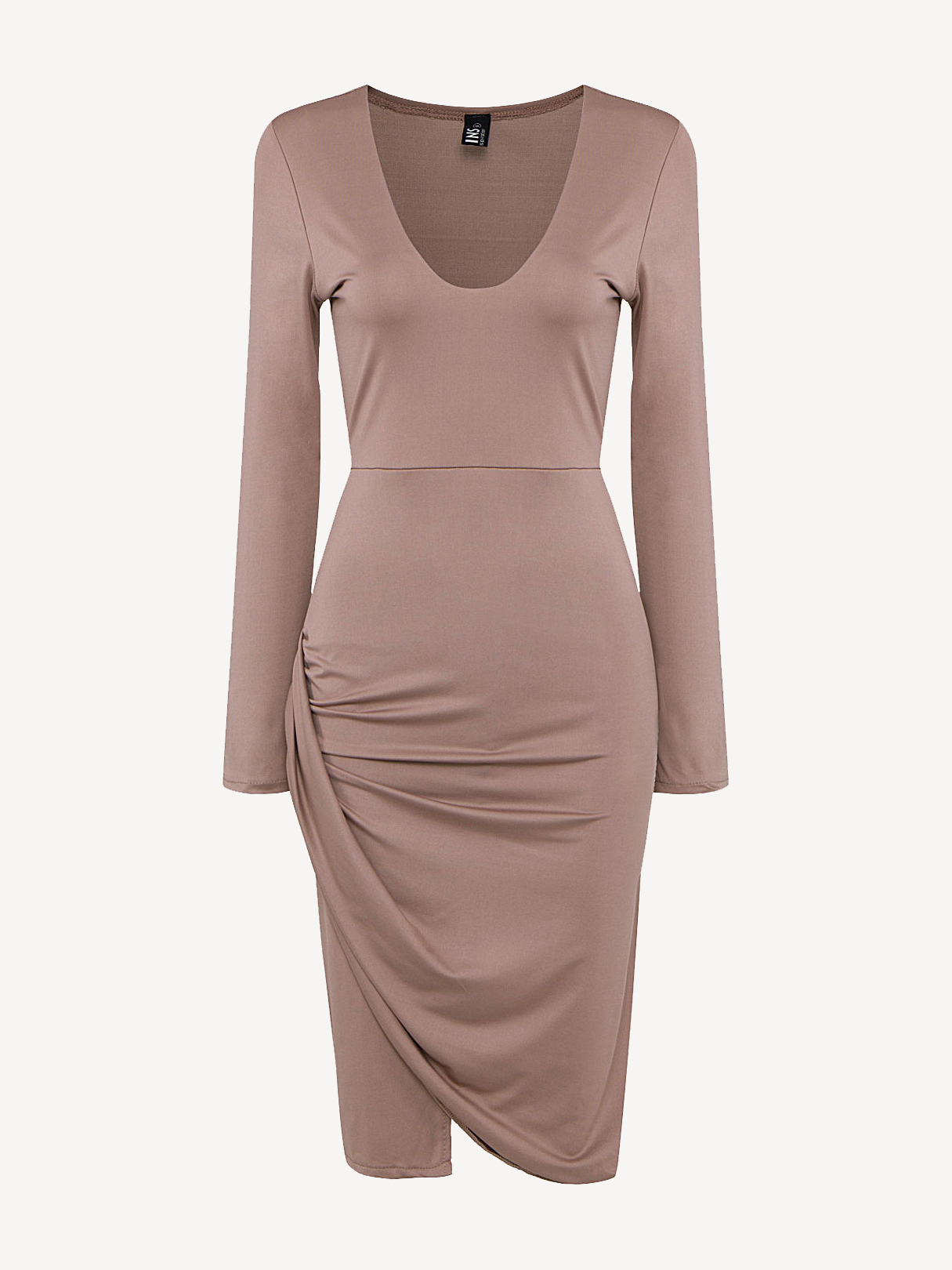 Plunge Neck Body-Conscious Midi Dress with Wrap Detail