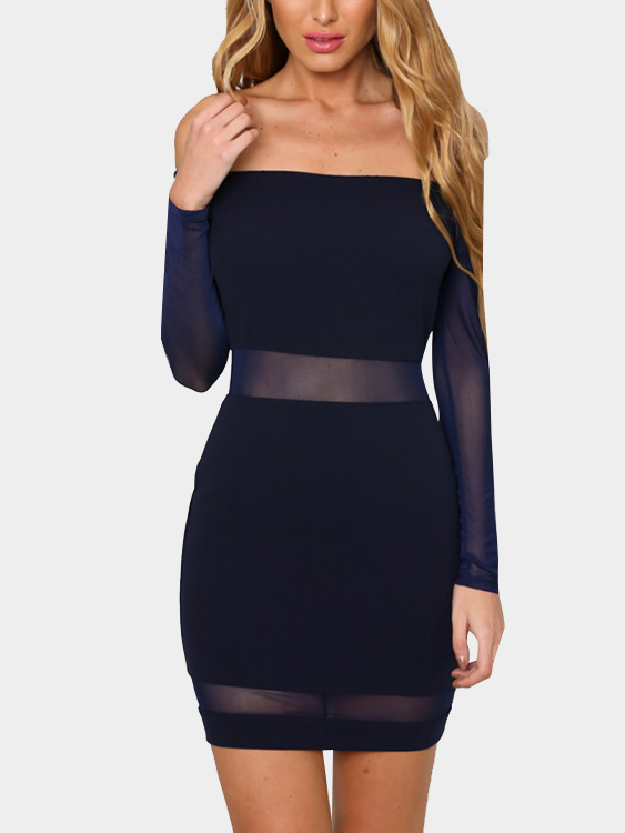 Off Shoulder Sheer Mesh Mini Dress with Long Sleeves