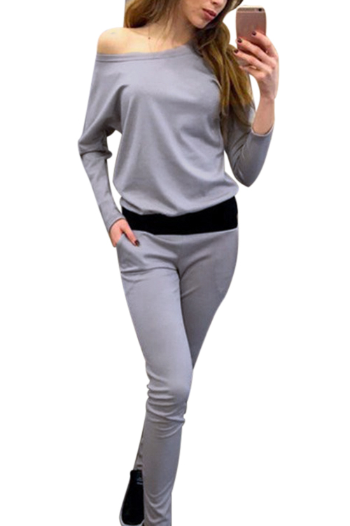 Grey Casual Pocket Design Long Sleeves Sport Co-ord