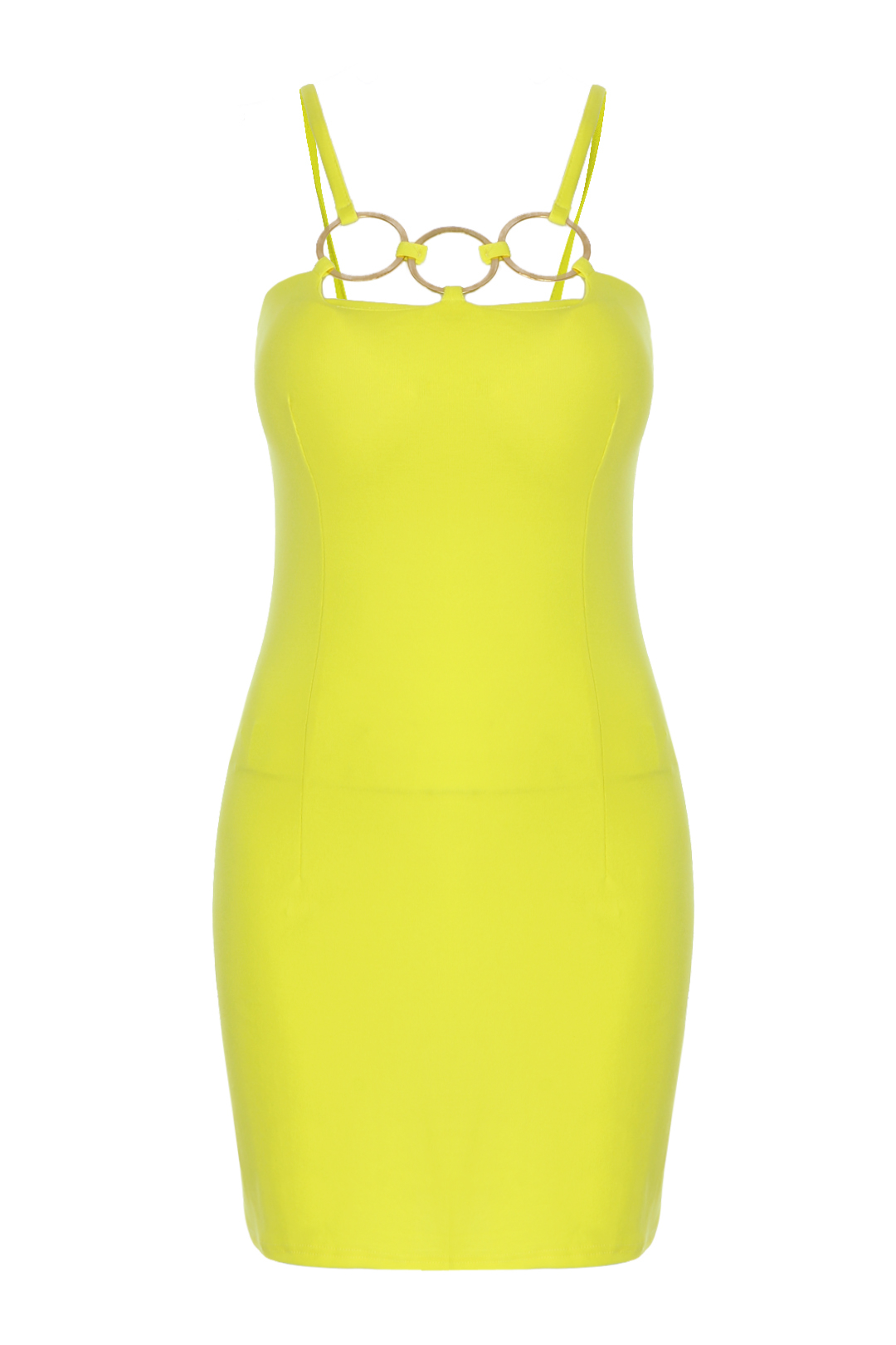 Yelleow Sexy Tube Cami Bodycon Dress with Circle Front