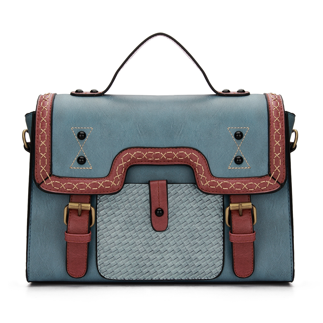 Light Blue Batchel Bag with Contrast Trims and Magnetic Closure