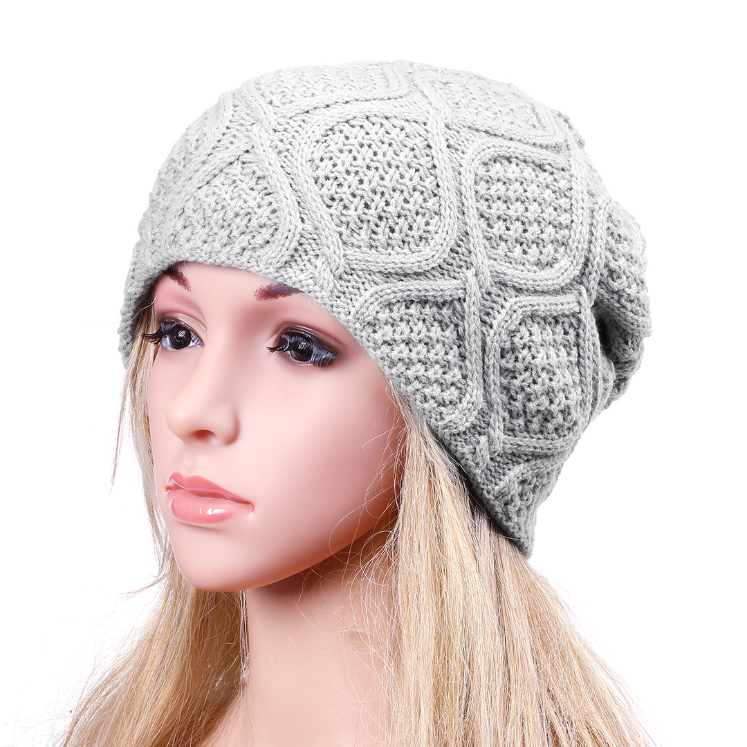 Grey Crochet Knit Ribbed Beanie Hat