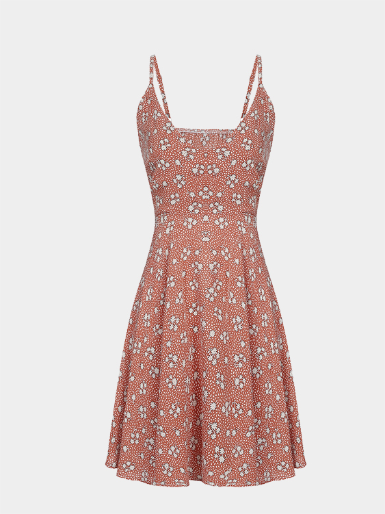 Pink Random Flower Print  Backless Loose Fit Cami Dress