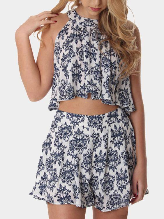 Floral Print Sleeveless Top and Shorts Co-ord