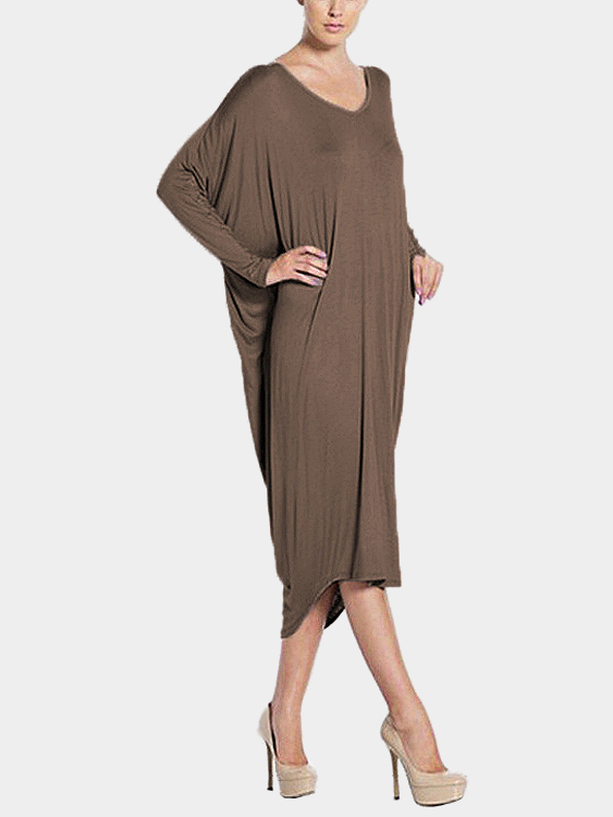 Coffee Loose Backless Long Sleeves Irregular Casual Dress