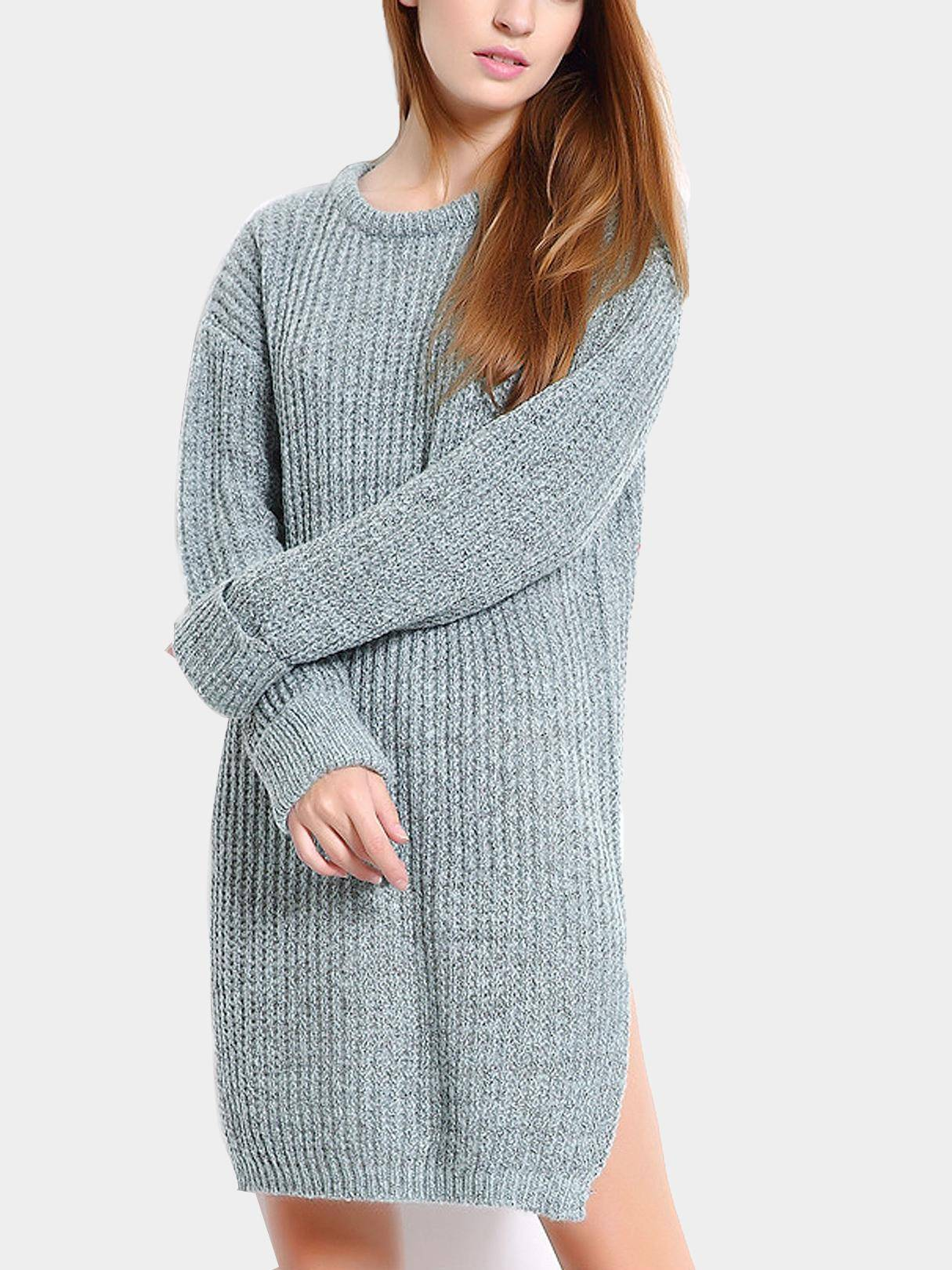 Aquamarine Slouchy Jumper Dress with Side Slits SKU312980
