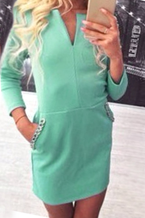 Green V-neck Long Sleeves Bodycon Dress with Pockets