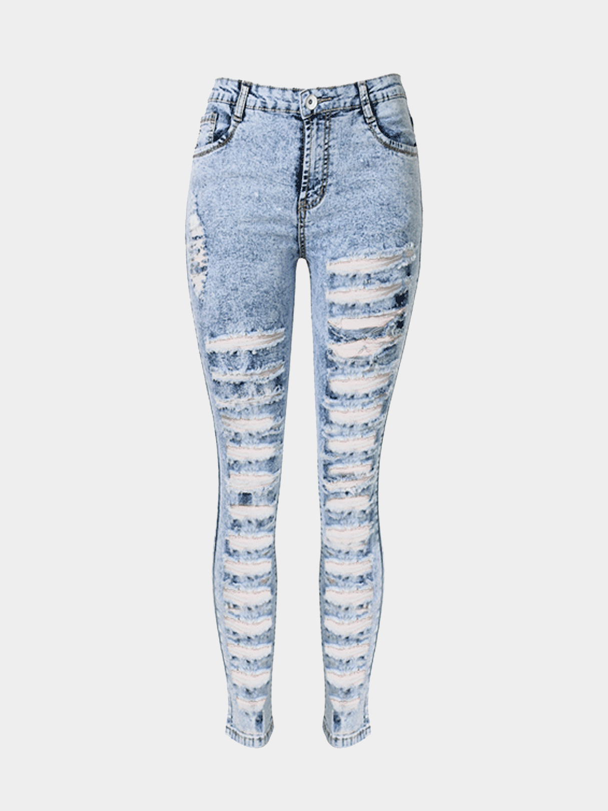 Skinny Jeans In Snow Wash With Extreme Shredded Rips
