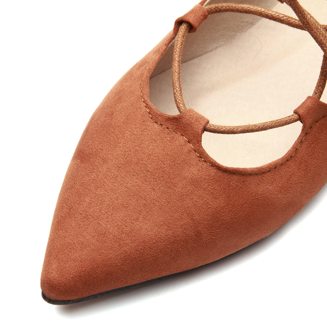 Brown Suede Lace-up Flats от Yoins.com INT