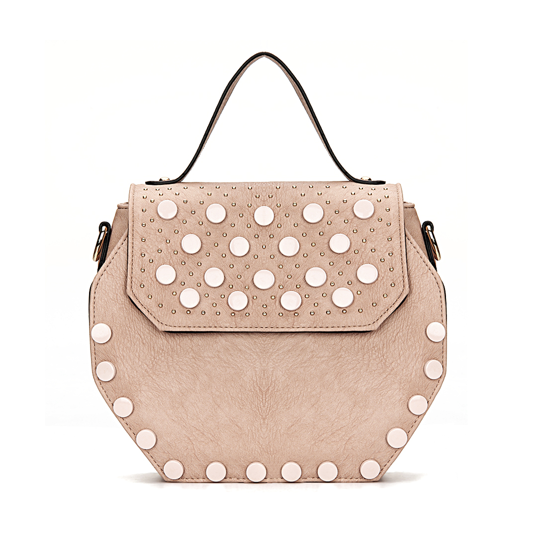 Pink Octagon Leather-look Handle Bag with Button and Rivet Embellishment