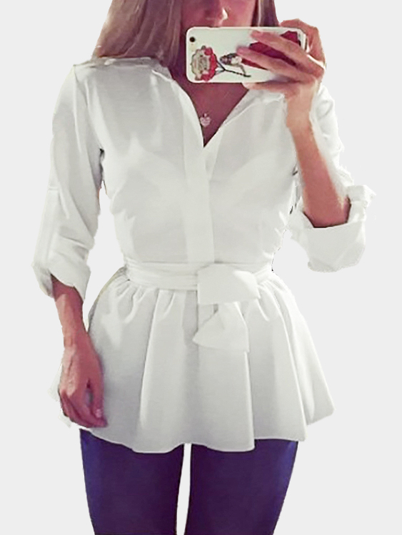 White See-through Cross Strap Shirt Dress with Self-tie Design