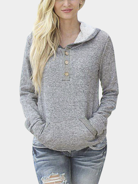Grey Button Front Hoodie with Pocket
