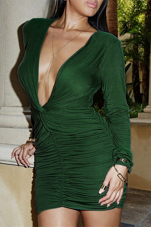Green Plunging V-neck Dress With Pleated design