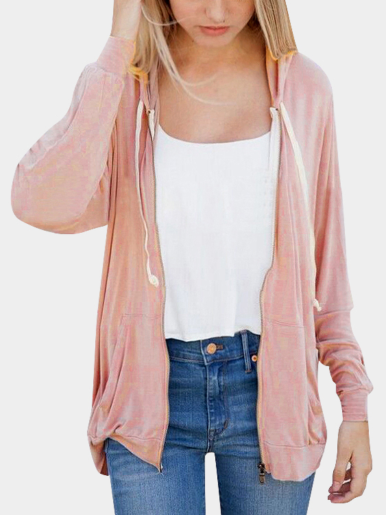 Pink Zipper Front Hoodies with Two Pockets