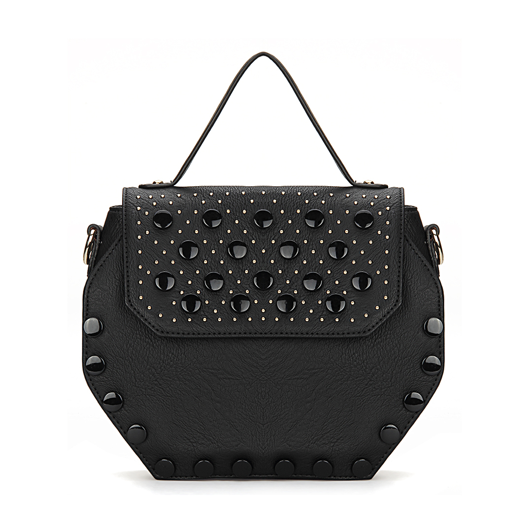 Black Octagon Leather-look Handle Bag with Button and Rivet Embellishment