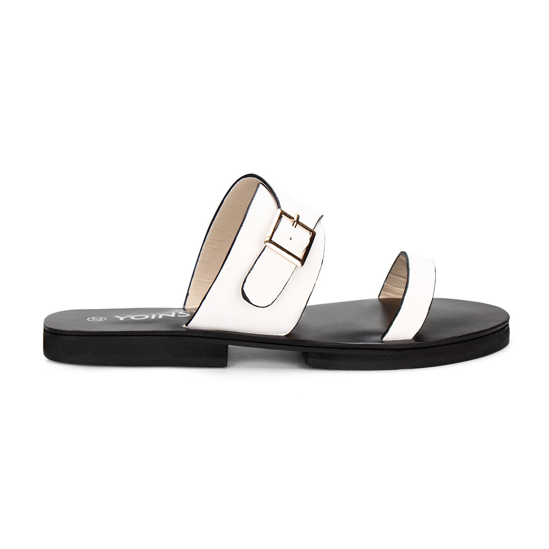 White Leather Look Pin Buckle Strap Simple Style Flat Slippers