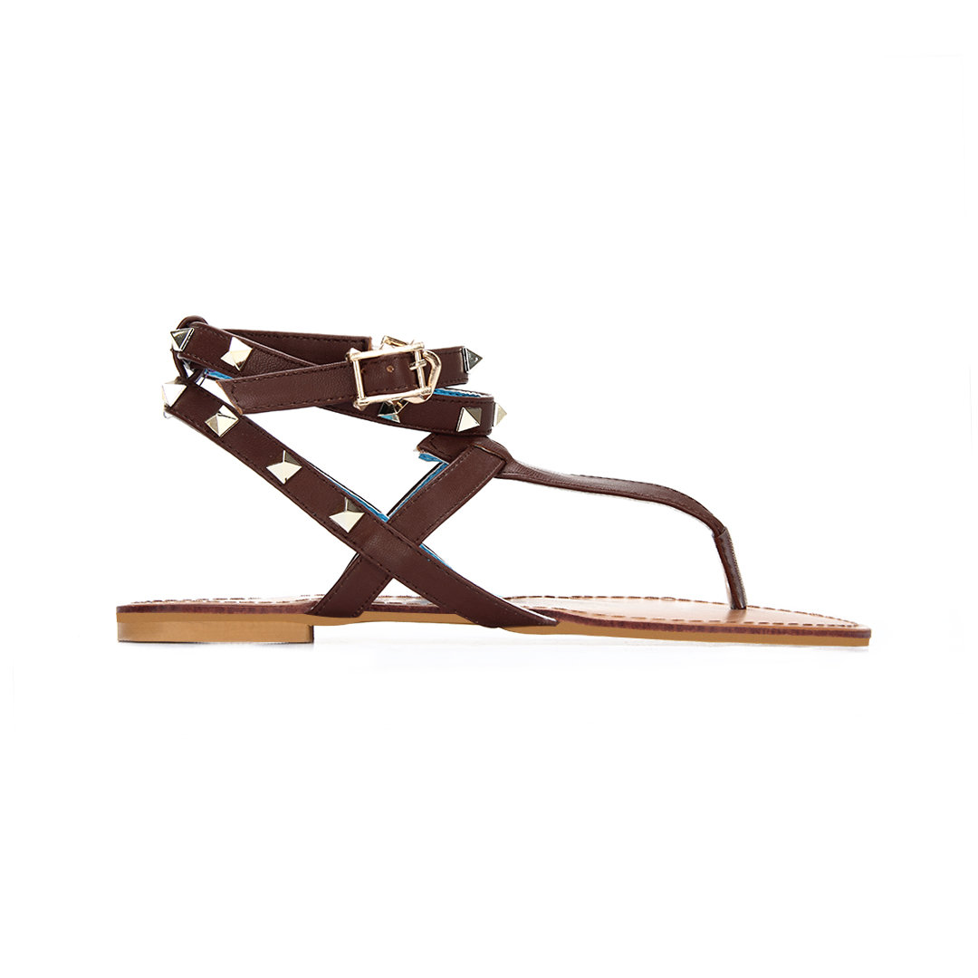 Brown Leather Look Wrap Strap Studded Flat Thong Sandals