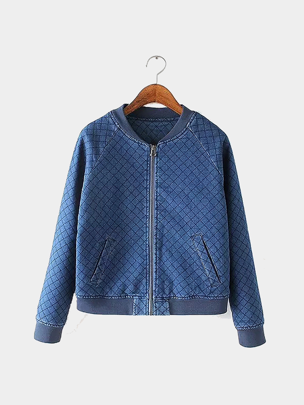 Denim Quilted Bomber Jacktet with Grid Pattern