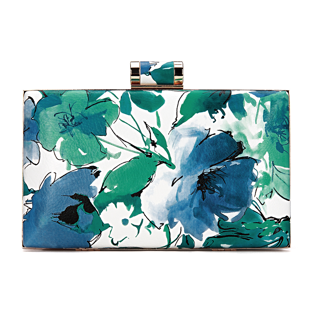 Floral Wash Painting Leather-look Box Clutch Bag in Blue and Green