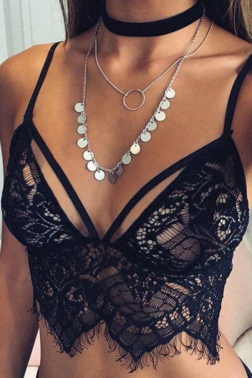 Sexy Sleeveless Lace Details Bralet with No Falsies