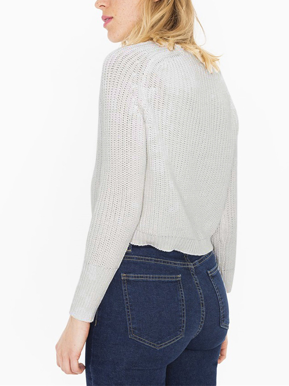 Chic White Long Sleeves Cropped Knit Sweater от Yoins.com INT