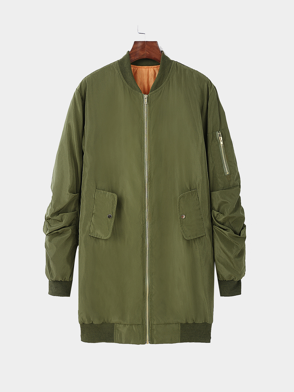 Green Longline Front zip Quilted Jacket