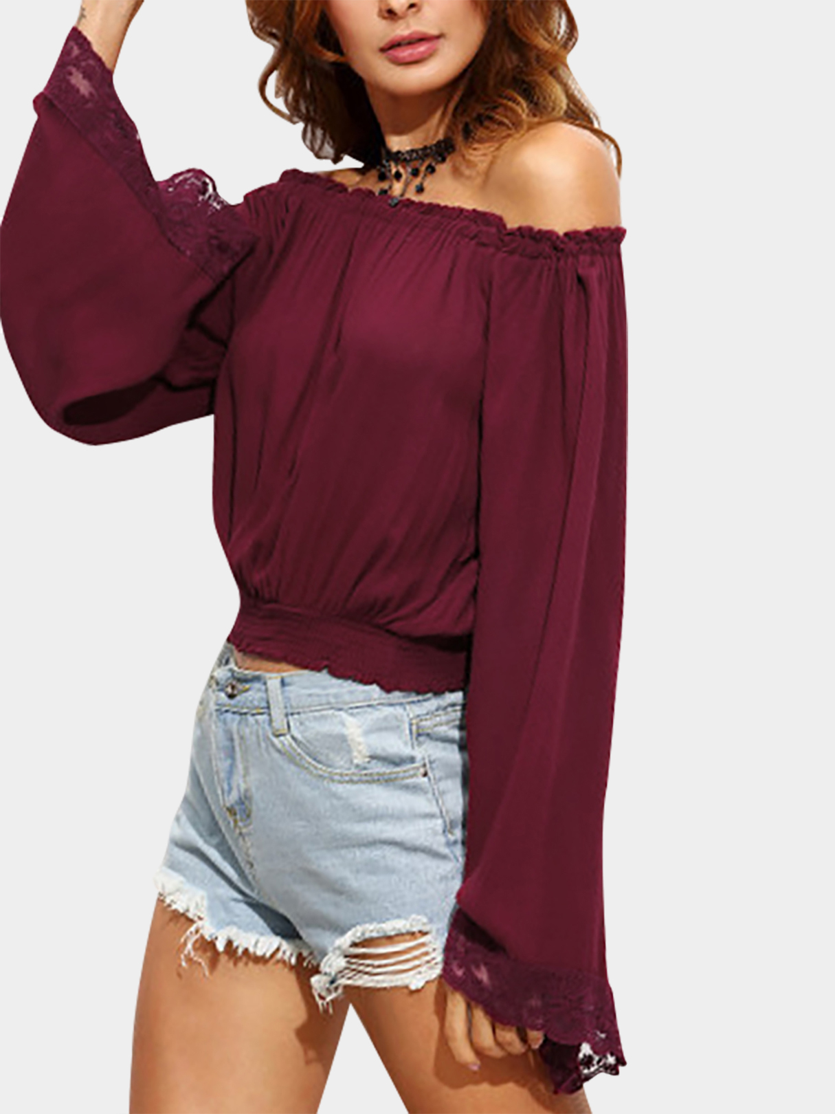 Sexy Off Shoulder Top With Lace Details