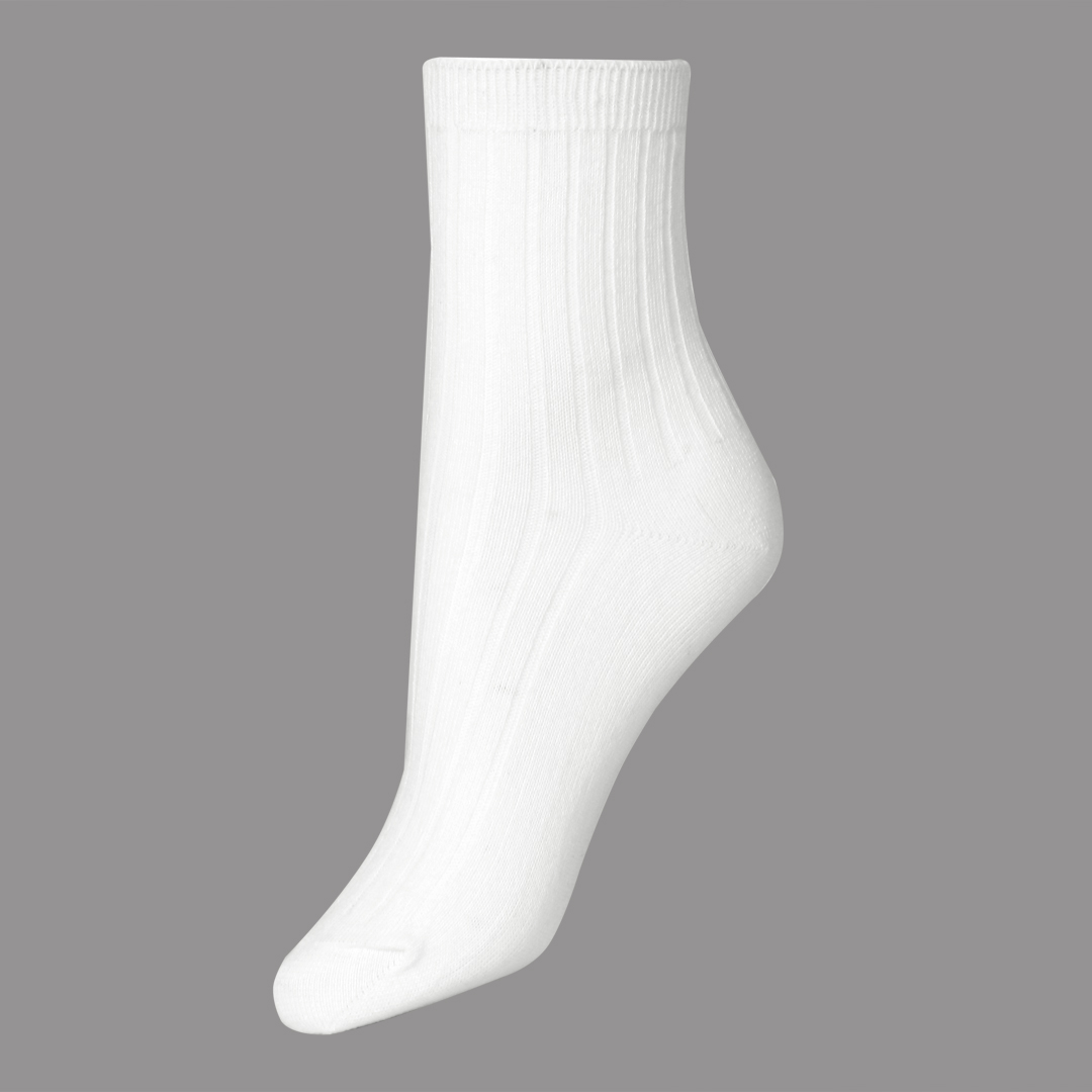 White Plain Rib Ankle Socks