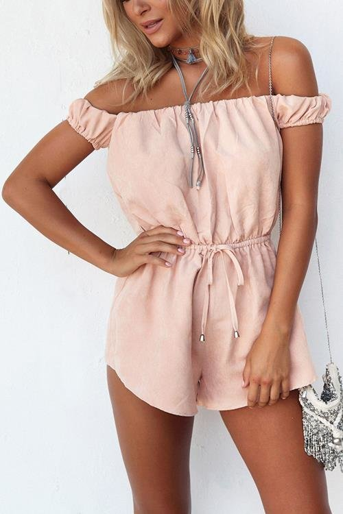 Pink Drawstring Waist Strapless Open Back Playsuit