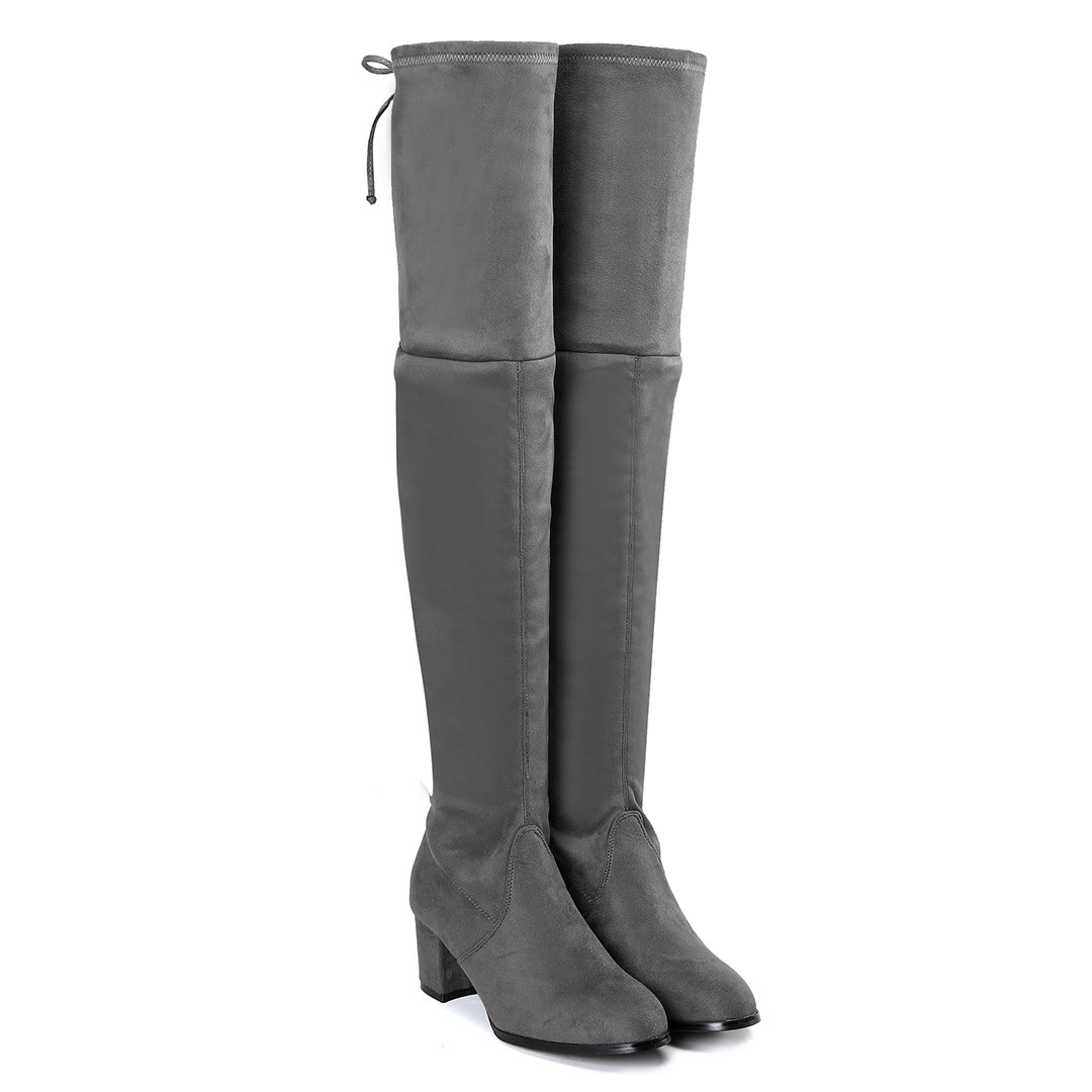 Grey Suede Over The Knee Boots with Back Lace-up Design