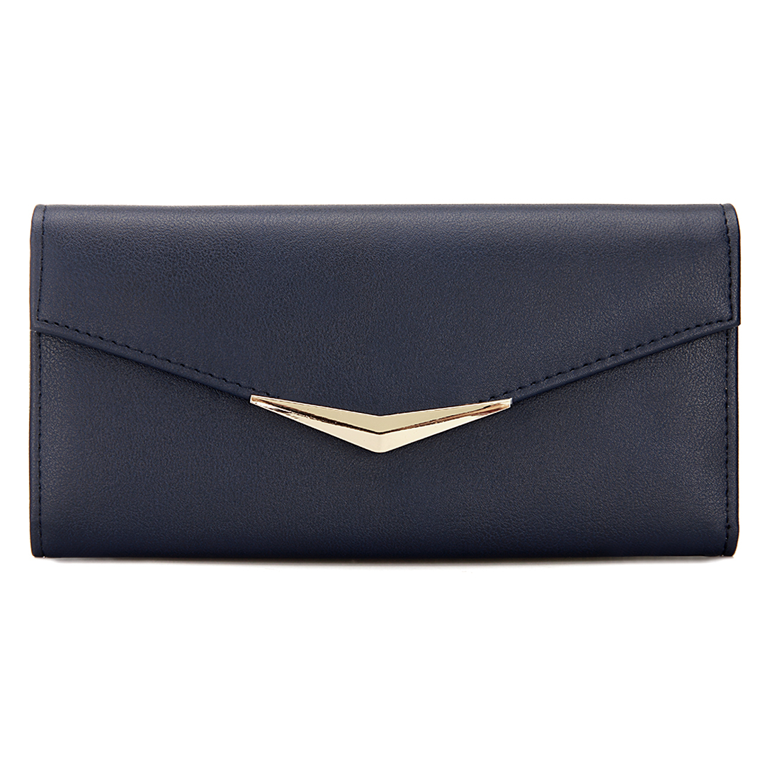 Yoins UK V Bar Foldover Leather-look Long Purse in Navy