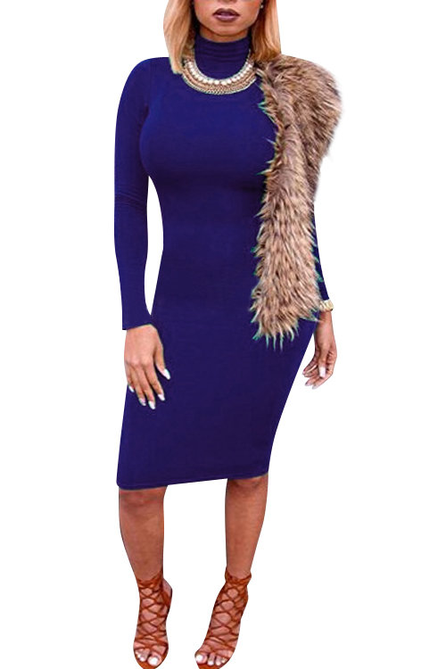 Blue High Neck Long Sleeves Bodycon Mini Dress