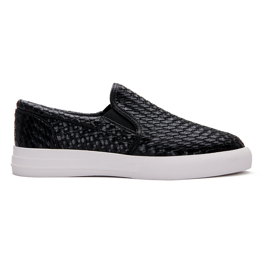 Black Casual Woven Leather Look Slip-on Loafers