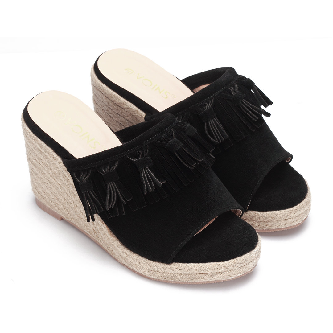 Black Nubuck Look Woven Wedge Mules With Tassel