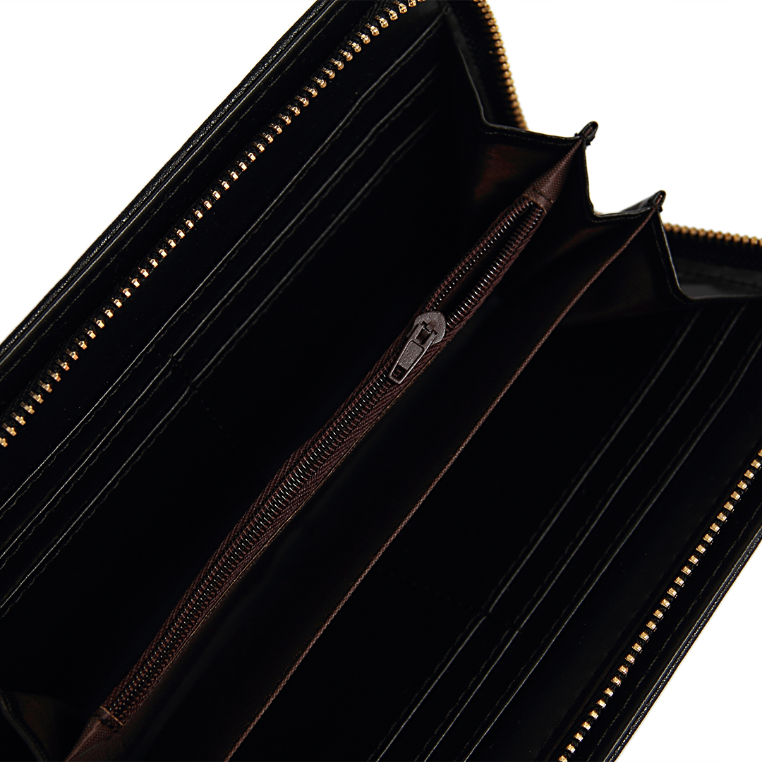 Eyelet Studded Leather-look Long Purse in Black от Yoins.com INT