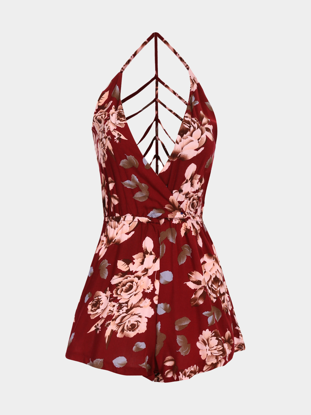 Plunge V-neck Caged Backless Floral Print Cami Playsuit