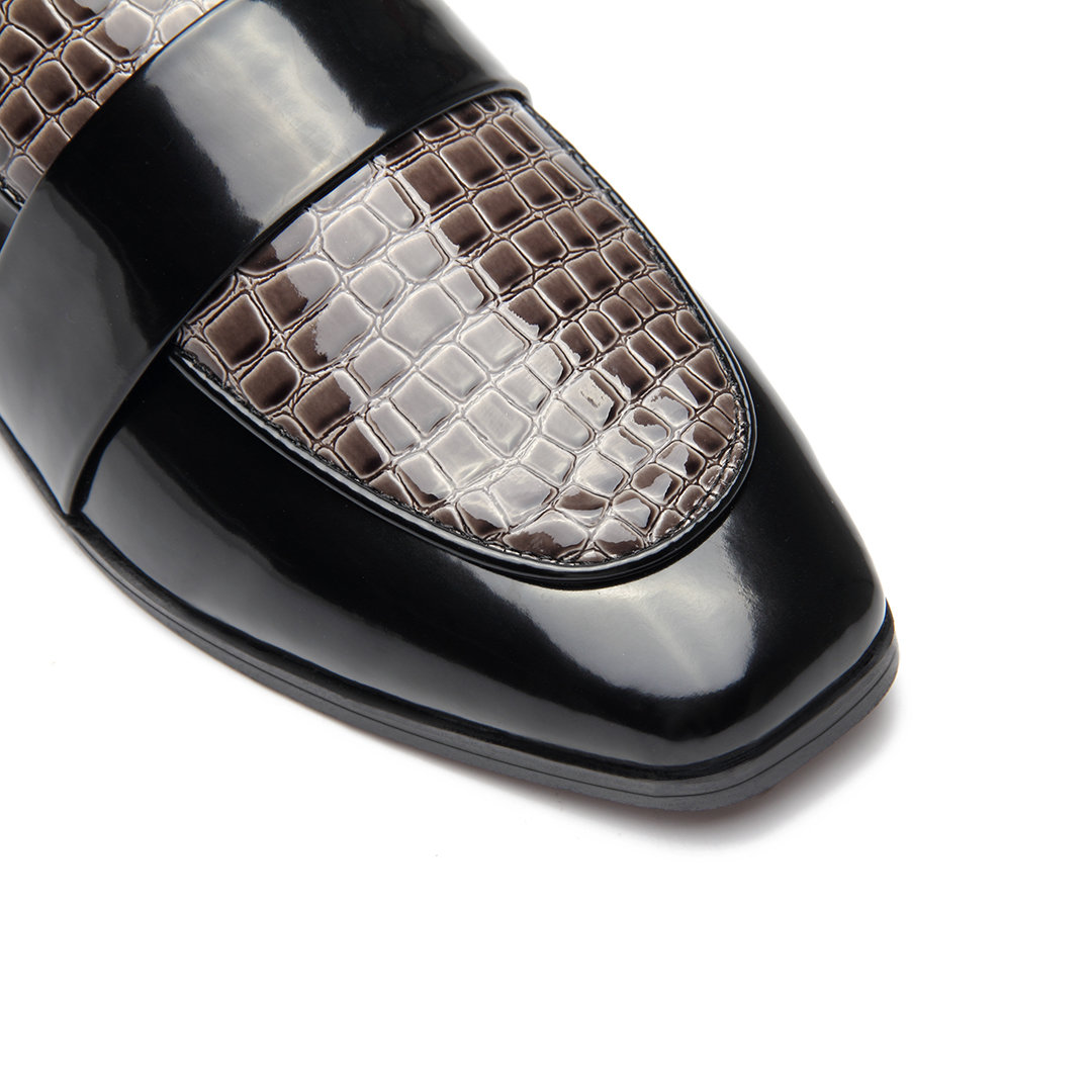 Black Crocodile Print Leather Look Square Toe Lace-up Mules от Yoins.com INT