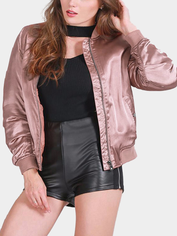 Pink Fashion Satin Zipper Bomber Jacket