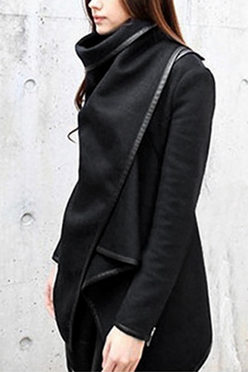 Black High Neck Front Wrapped Trench Coat