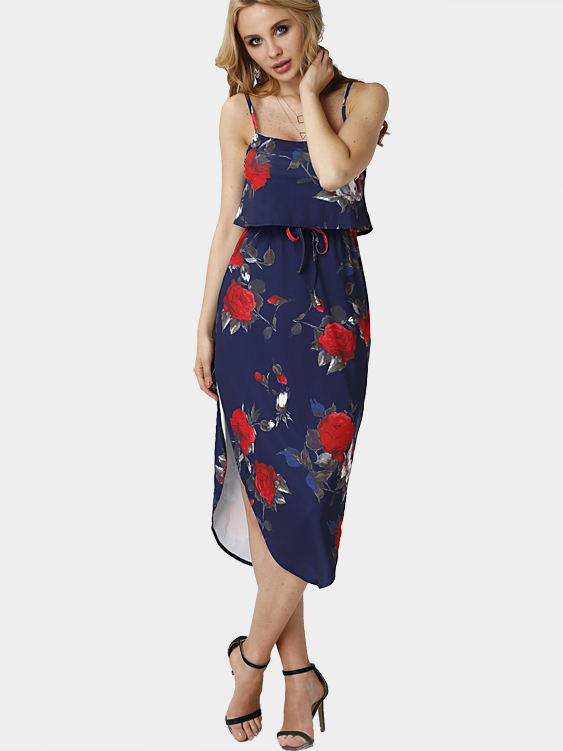 Random Floral Print Sleeveless Maxi Dress with Adjustable Straps