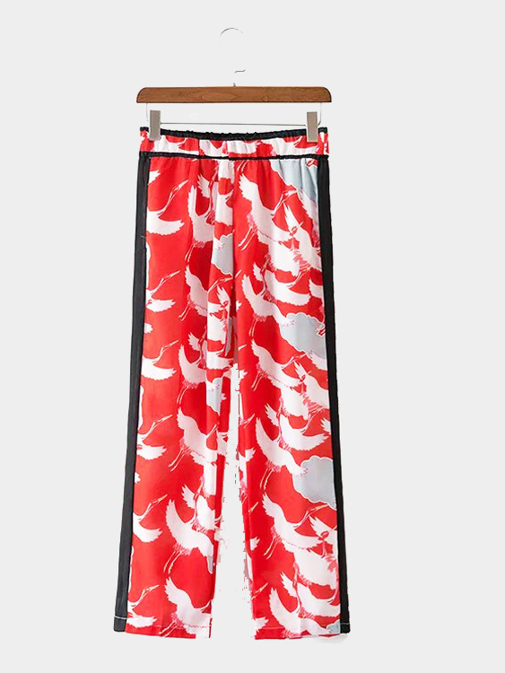 Animal Pattern Elastic Waist Trousers