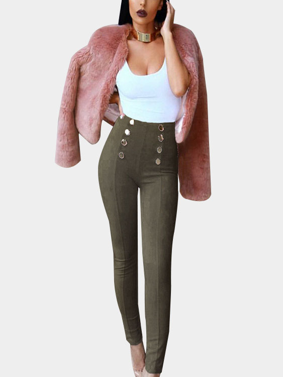 Army Green Suede Button Embellished Pants